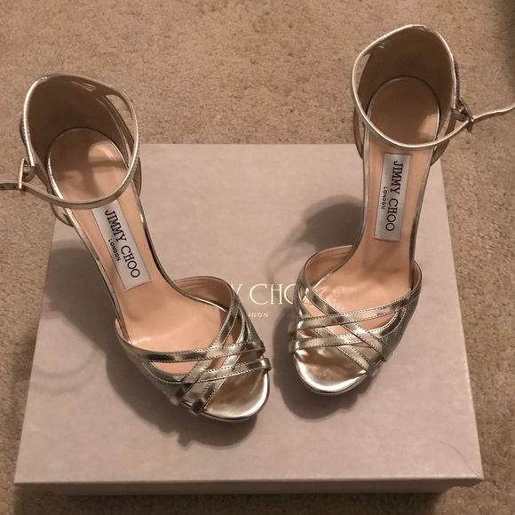d45b27ca1bbb Jimmy Choo Shoes - Jimmy Choo Laurita silver glitter sandals